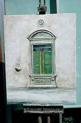 Christopher Darton Watkins, Window in Florence 1990, oil, wax, mixed media