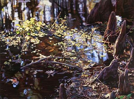 Adrian Deckbar, Cypress Reflections 2006, oil on canvas