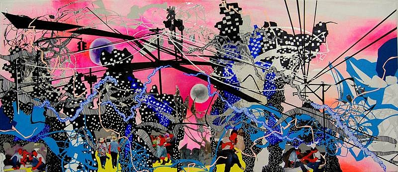 Priscila De Carvalho, Crossing Tracks 2007, acrylic, photograph collage, sharpie, urethane on canvas