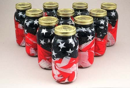 Jack Daws, Pickled Flags 2001, US flags, vinager solution, canning jars
