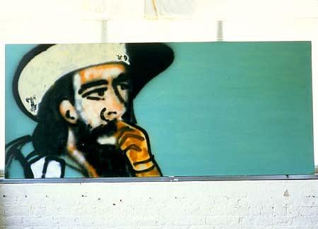 Larry Deyab, Revolutionary Portrait - Camilo 2003, oil, spray paint on canvas