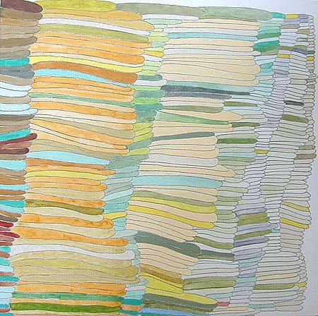 Susan Dory, Green Growth Chart 2004, acrylic, enamel on canvas over panel
