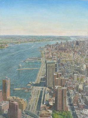 Sjoerd Doting, From the World Trade Center, Looking Northwest 2001-2002, oil on canvas