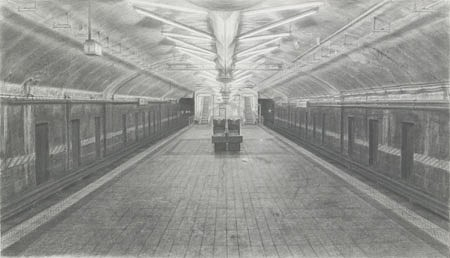 Sjoerd Doting, Grand Central Subway 2003-2004, pencil on paper