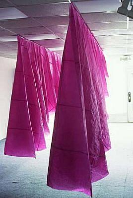 Beatrice Drysdale, Purposeful, purposeless 2004, purple tissue paper, glue