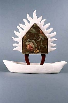 Breon Dunigan, Burning Memory House 1991, wood, fabric, plaster