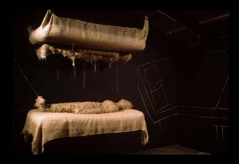 Anindita Dutta, Silent Dialogue 2006, burlap, airbed, cotton, chalk