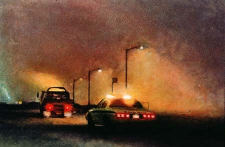 Jessica Dunne, Cop Car and Tow Truck 1993, monotype