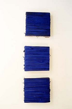 Gregory Coates, Triple Blue 2000, oil, pigment on inner tubes and wood skid