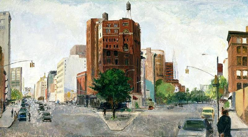 Peter Colquhoun, Lower West Broadway 1996, oil on board