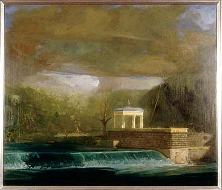 Patrick Connors, Fairmount Gazebo and Dam in Storm 1998, oil on linen