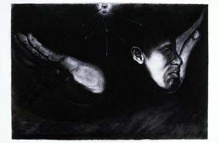 Antonio Coro, Flying Again 2005, paper, charcoal, white conte