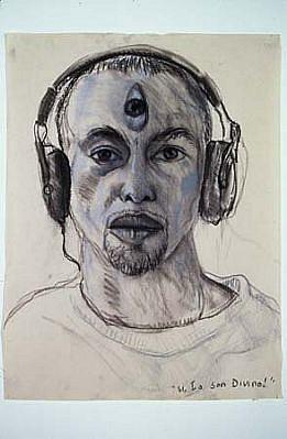 Antonio Coro, Third-eye Opened 2004, charcoal, white conte on newsprint