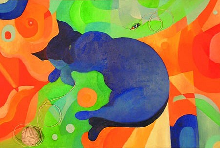 Letizia Cortini, My Cat is a Dreamer 2004, oil and collage on canvas