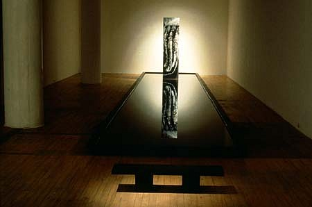 Linda Covit, Traces - detail of reflecting pool and bench 1991, steel, wood, paint, plastic, b&w and colour photos, motor