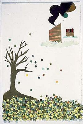 Claire Cowie, The Tree 2004, collage, watercolor, woodcut