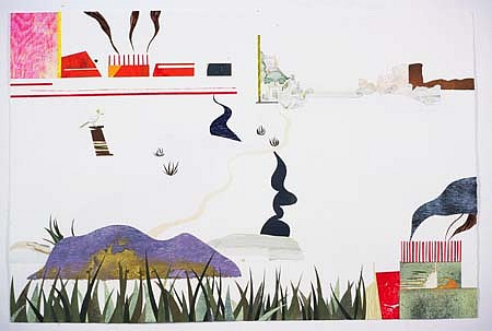 Claire Cowie, The Smokestacks 2004, collage, watercolor, monotype