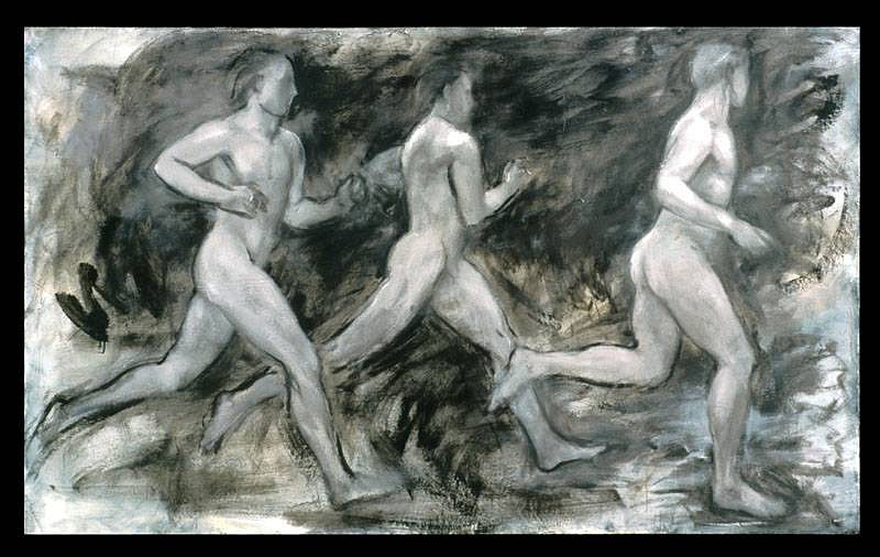 Nancy Ellen Craig, The Runners, en grisaille 2007, oil on canvas