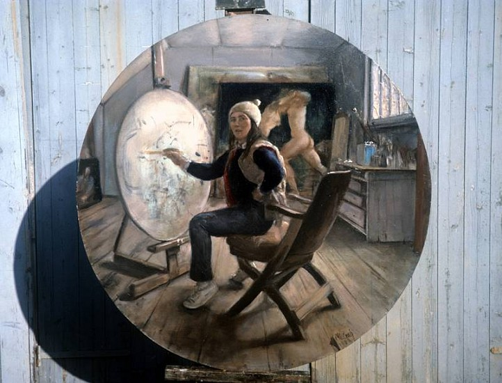 Nancy Ellen Craig, Winter Round: Self Portrait in Studio 2001, oil on linen