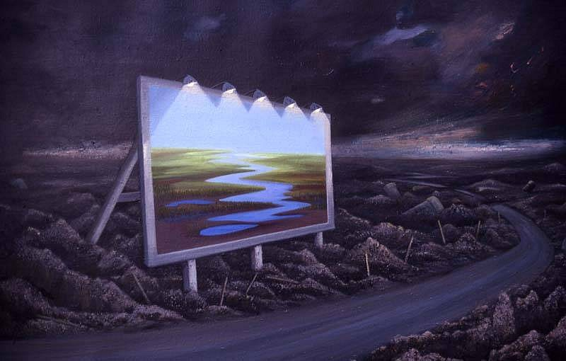 Janet Culbertson, The First Billboard 1987, oil on canvas