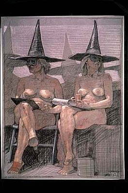 Robert Cumming, 2 Women, Masks, Witch Hats, October 1994, conte on paper