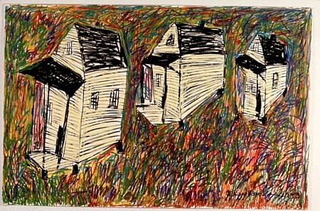 Beverly Buchanan, Waterfront Shacks 1993, oil pastel on paper