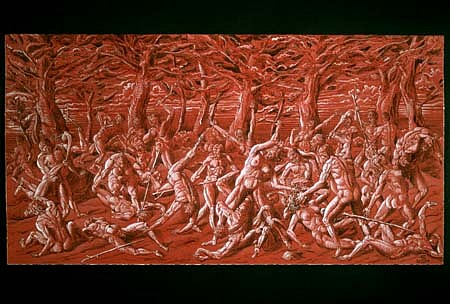 Stephen Burt, Battle of Man and  Woman 2001, ink and gouache on red prepared paper