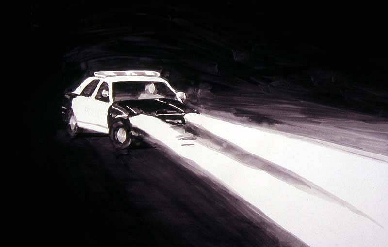 Buddy Bunting, Patrol Car, Black and White, Fontana, California 2006, ink wash on paper