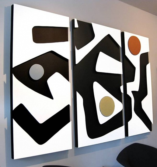 Ralf Broughton, Untitled Triptych 2009, wood, hardboard, canvas, acrylic, metallic paint