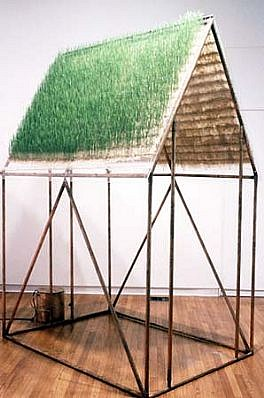 Michele Brody, Seeing Below from Above 2002, copper pipe, plexiglass, hand-made paper, grass seeds, water