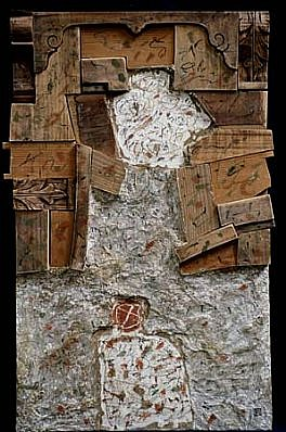 Istvan Birkas, Wooden Picture with Two Patches 2001, Mixed Techniques, wood fiber