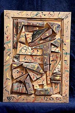 Istvan Birkas, Small Wood Picture 2000, mixed media, wood fiber