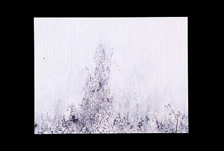 Marcus Bjernerup, New Black Mountain 2004, pencil and acrylic on paper mounted on paper