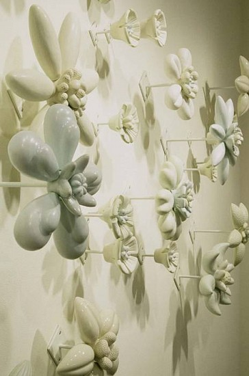 Nancy Blum, Flower Wall (detail) 2000, ceramic