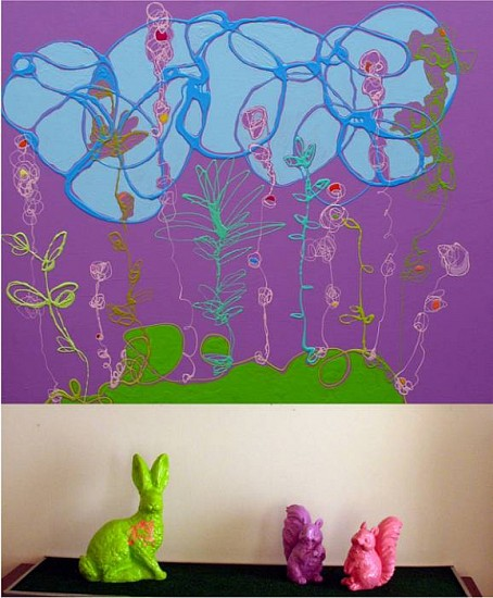 Serena Bocchino, Bloom and Synchronicity with lawn animals 2009, enamel paint on canvas with Astroturf and resin lawn animals