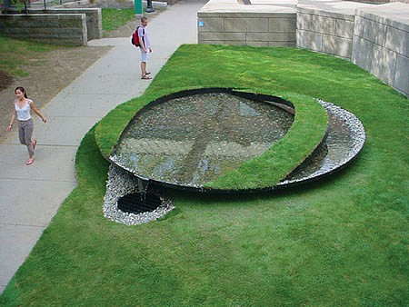 Bob Boemig, In the Image 2003, steel, stone, sod, earth, water