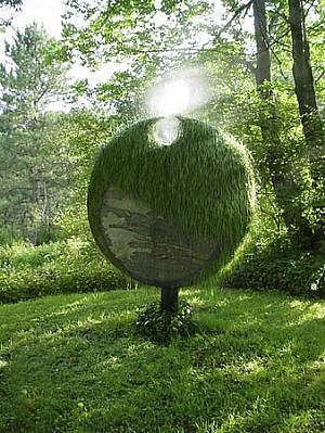 Bob Boemig, Awakening 2004, painted steel, stone, sod, earth, water mist