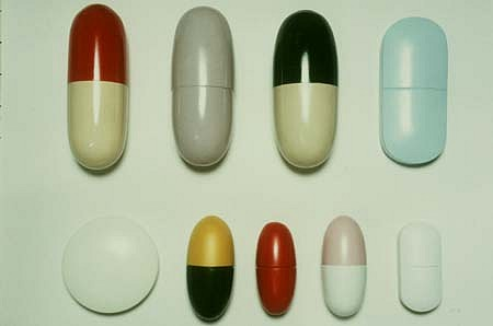 Tina Born, Pills 1996, wood, acrylic paint