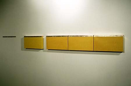 Krystyna Borkowska, Yellow Silver Horizontal 2000, acrylic on canvas, silver leaf extended on wall