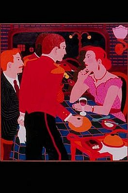 Lynn Bostick, Having Dinner on the Night Train 1990, oil on canvas