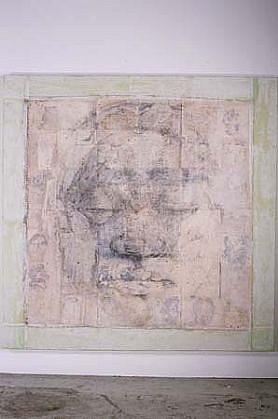 SoHyun Bae, A Woman of Josun Dynasty: Colossal Head V 1998, pencil, rice-paper, fabric on paper