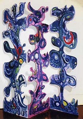 Sonia Baez Hernandez, Blue Triptych 2004 - 2005, oil on wood