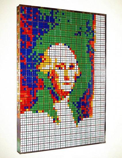 Jan Baracz, On The Money 2004, 336 rubrics' cubes in plexiglass case
