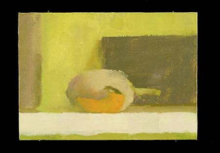 Lucy Barber, Two Journals with Yellow Chili 1999, oil on linen on panel