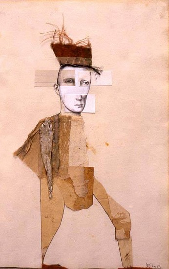 Deborah Barrett, Man in Red Hat Marching 2004, graphite and collage on paper
