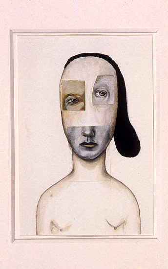 Deborah Barrett, White Woman with Hair on Ride Side 2005, gouache and collage of earlier drawings