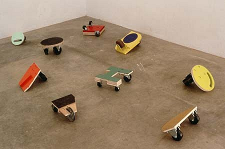John Beech, Small Rolling Platforms 1998, plywood, casters, rubber, enamel
