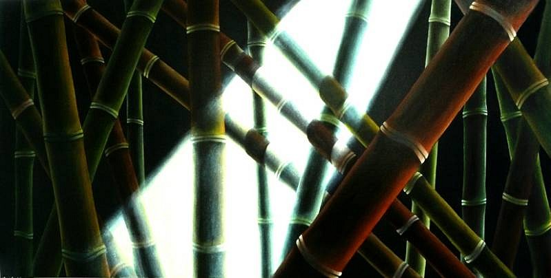 Juan Bernal, Bamboo with Light Rays 2008, oil on canvas
