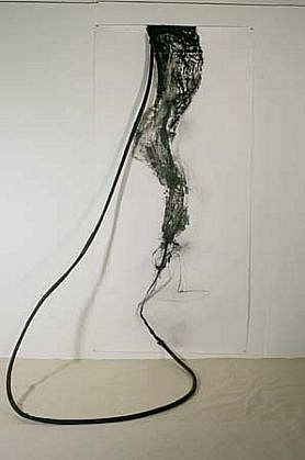 Barbara Bernstein, Avoiding the Collapse of Enclosed Spaces 2001, mixed media on paper, rubber