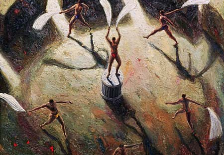 Bruce Ackerson, Fan Dancers 1997, oil